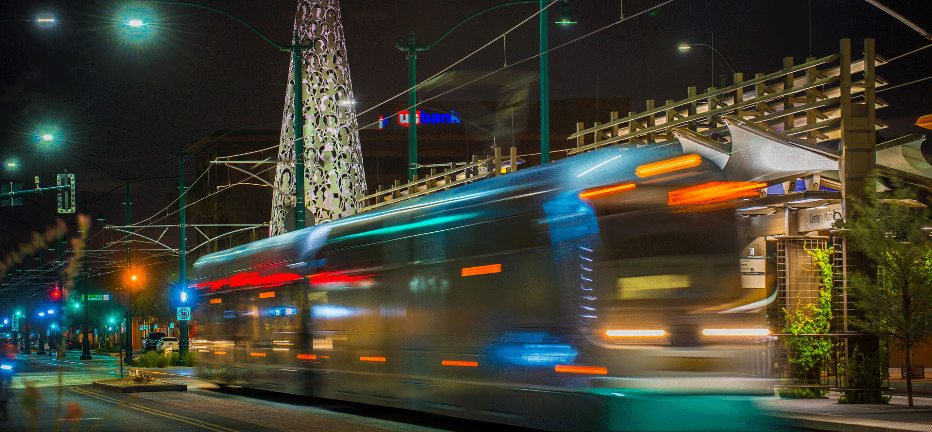 Valley Metro Rail streetcar passing quickly at night